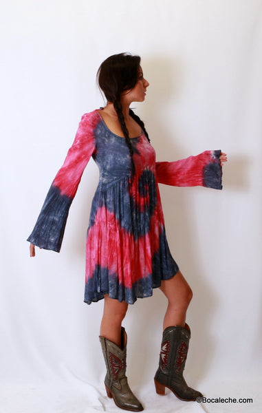 Splattered Tye-Dye Dress - BOCALECHE - 4