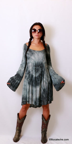 Splattered Tye-Dye Dress - BOCALECHE - 6
