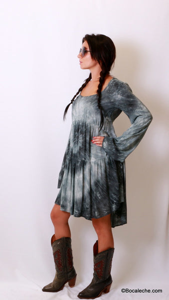 Splattered Tye-Dye Dress - BOCALECHE - 7