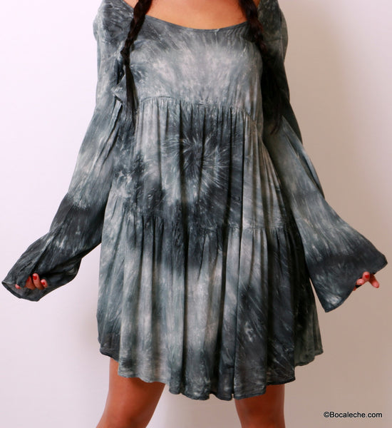 Splattered Tye-Dye Dress - BOCALECHE - 9