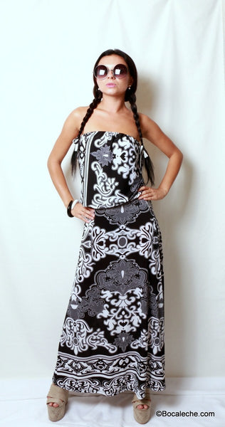Delightful Damask Maxi Dress - BOCALECHE - 1
