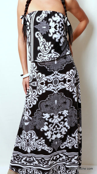 Delightful Damask Maxi Dress - BOCALECHE - 2