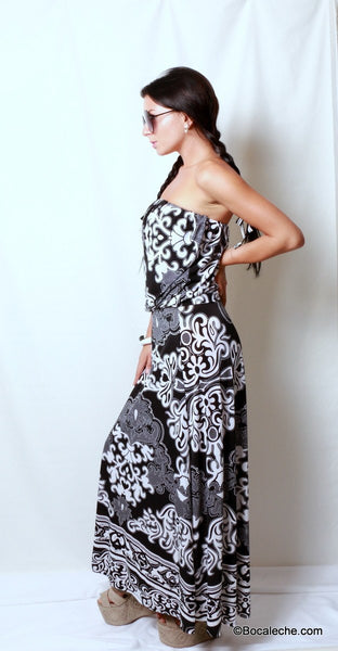 Delightful Damask Maxi Dress - BOCALECHE - 3