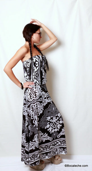 Delightful Damask Maxi Dress - BOCALECHE - 4