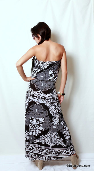 Delightful Damask Maxi Dress - BOCALECHE - 5