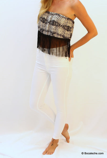 High White Waisted Pants - BOCALECHE - 1