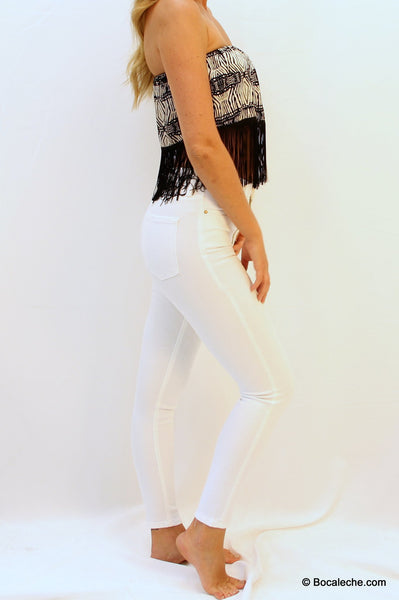 High White Waisted Pants - BOCALECHE - 3