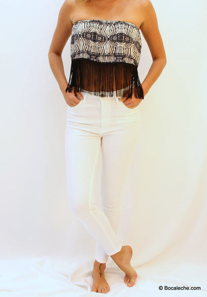 High White Waisted Pants - BOCALECHE - 4
