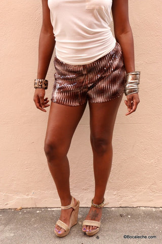 Bronze Moon Sequin Shorts