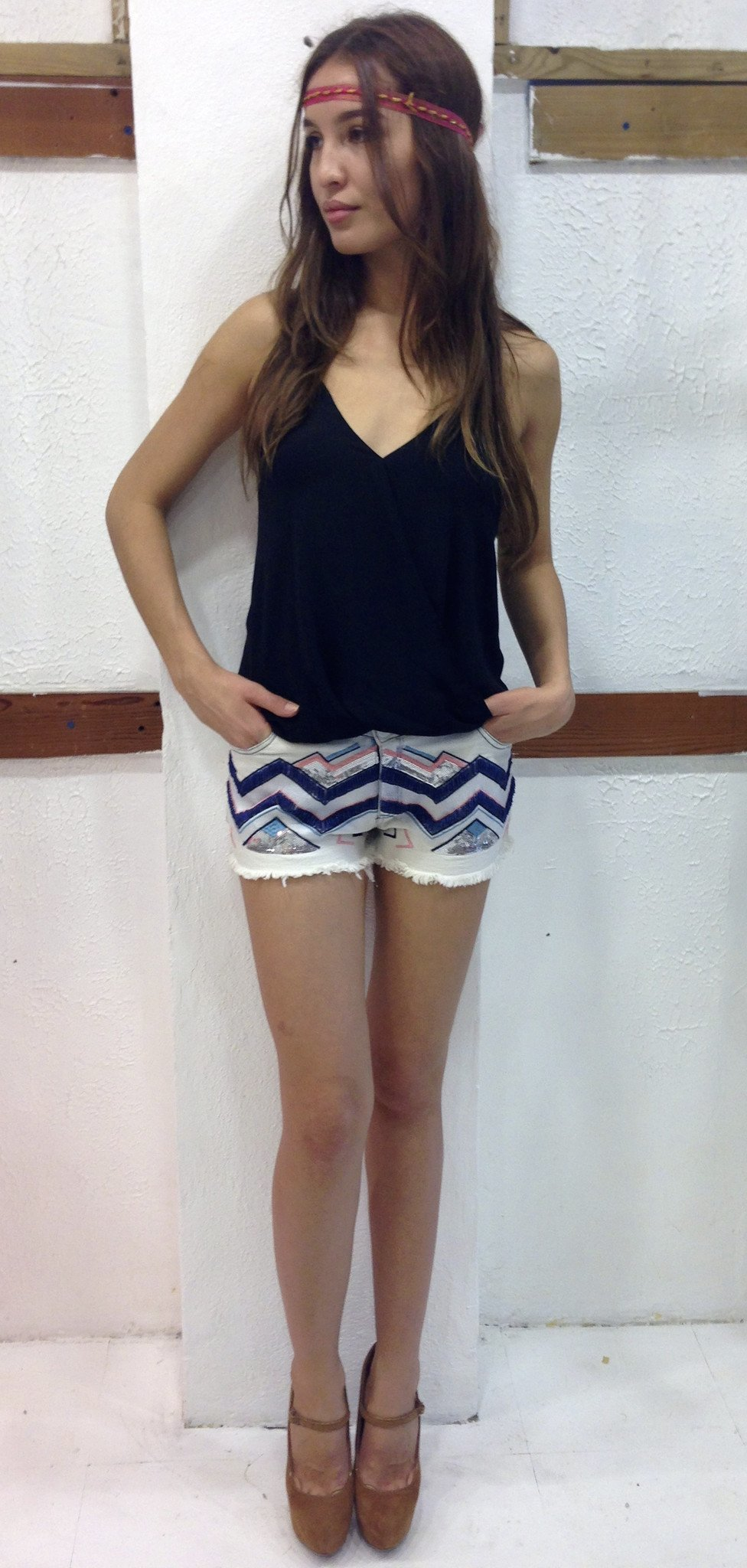 Chevron Sequin Shorts - BOCALECHE - 1