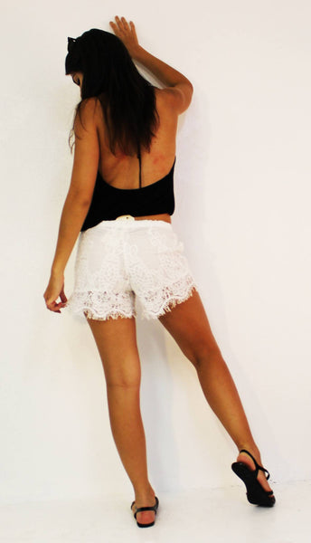 White Spindle Shorts - BOCALECHE - 3