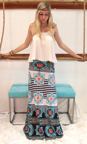 Star Bright Teal Maxi Skirt