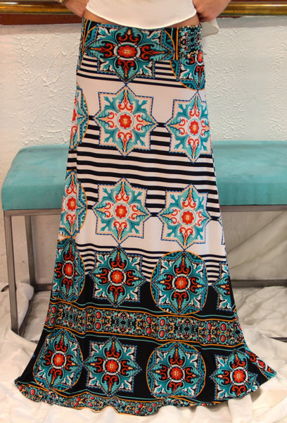 Star Bright Teal Maxi Skirt - BOCALECHE - 7