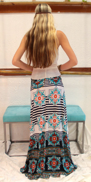 Star Bright Teal Maxi Skirt - BOCALECHE - 6