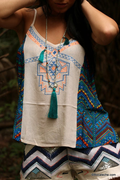 Chevron Tank Top with Embroidery - BOCALECHE - 2
