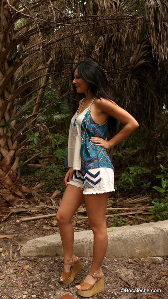 Chevron Tank Top with Embroidery - BOCALECHE - 7