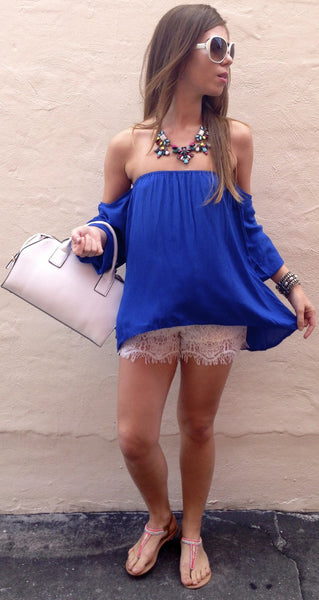 Royal Blue Gypset Blouse - BOCALECHE - 1