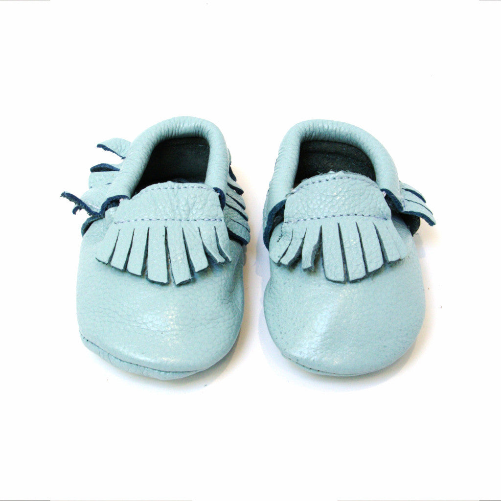 SKY BLUE leather moccs