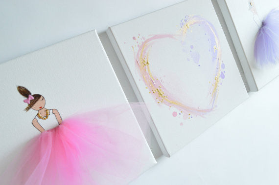 Lilac Pink Gold Tutu Hand Painted Canvas Set