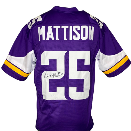Alexander Mattison Signed Custom Purple Football Jersey