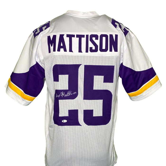 Alexander Mattison Signed Custom White Football Jersey