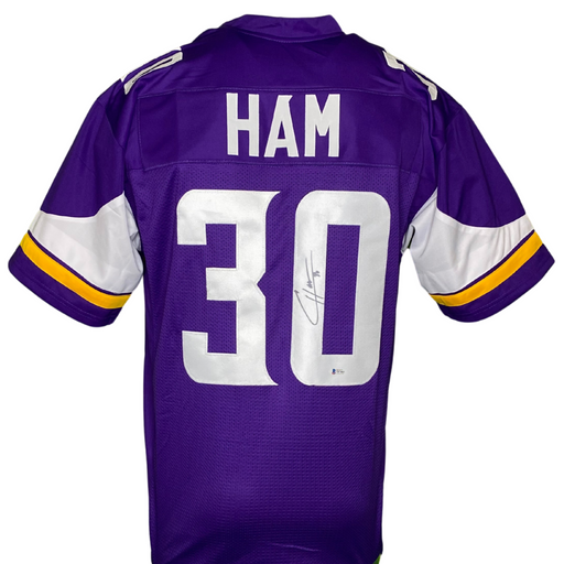 CJ Ham Signed Purple Custom Football Jersey