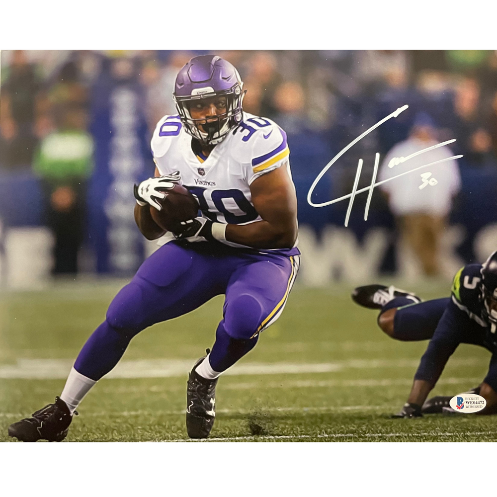 CJ Ham Signed Running White Jersey 8x10 Photo