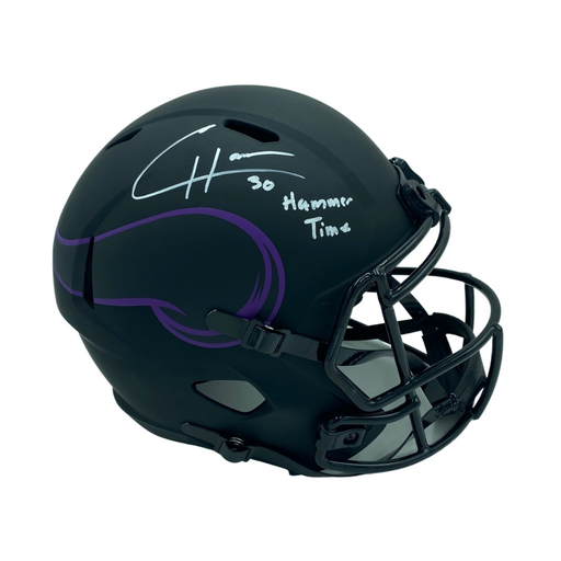 CJ Ham Signed Minnesota Vikings Speed Eclipse Rep Helmet w/ 'Hammer Time'