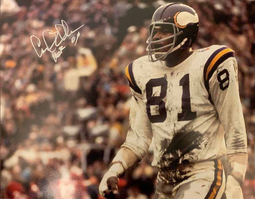 Carl Eller Autographed Close-up in White 11x14 Photo with HOF 04