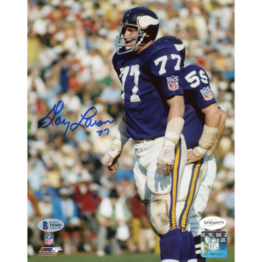 Gary Larsen Autographed Standing in Purple 8x10 Photo
