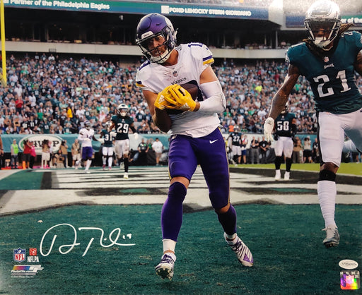 Adam Thielen Autographed with Football in Purple (Catch) 16x20 Photo