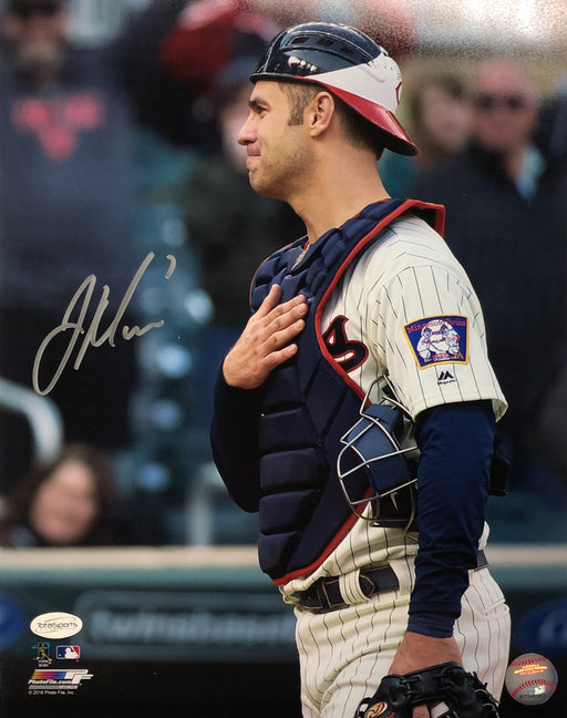 Joe Mauer Autographed Hand On Heart 11x14 Photo