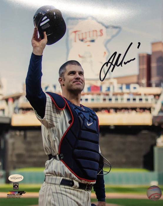 Joe Mauer Autographed Cap Tip 11x14 Photo