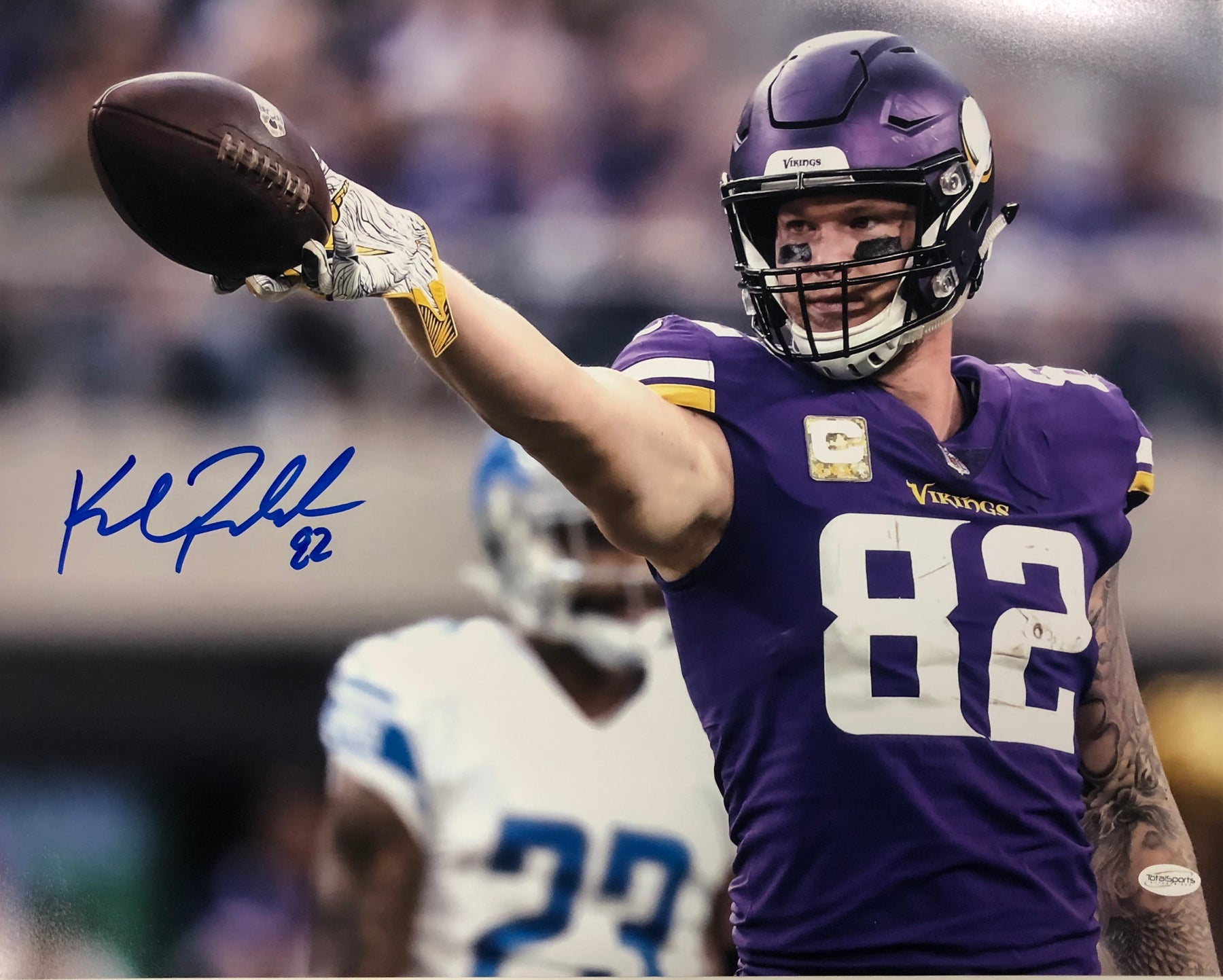 Kyle Rudolph Autographed Horizontal in Purple (Pointing) 16x20 Photo