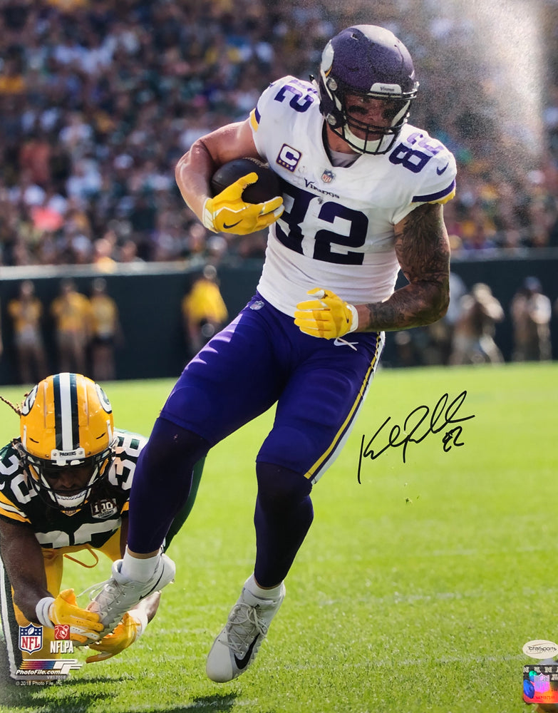 Kyle Rudolph Autographed Vertical in White (Running) 16x20 Photo