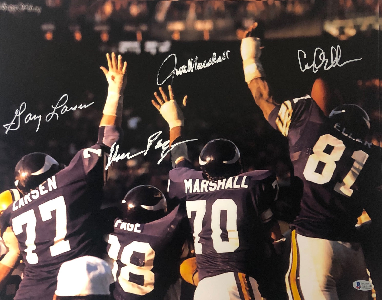Purple People Eaters Signed Purple Backs 16 x 20 Photo - Signed by Page, Eller, Marshall, and Larsen
