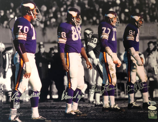 Purple People Eaters Signed B&W on Sidelines 16 x 20 Photo - Signed by Page, Eller, Marshall, and Larsen