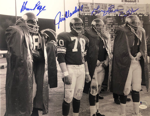 Purple People Eaters Signed B&W Sidelines 16 x 20 Photo - Signed by Page, Eller, Marshall, and Larsen