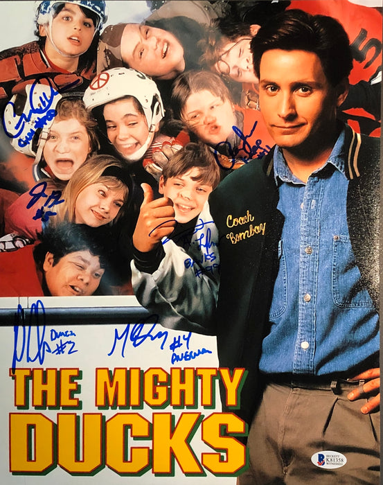 The Mighty Ducks Cast Autographed 11x14 Movie Poster