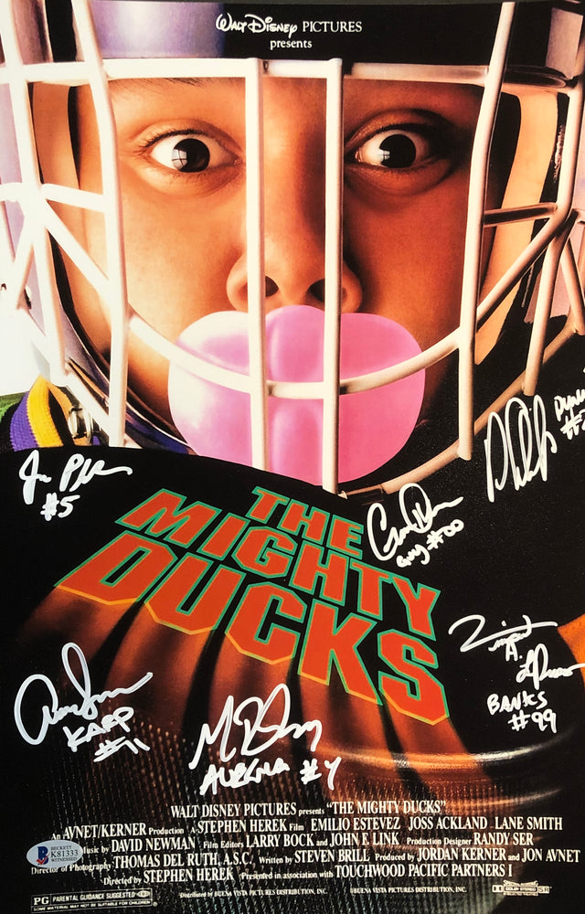 The Mighty Ducks Cast Autographed 11x14 Goalie Movie Photo