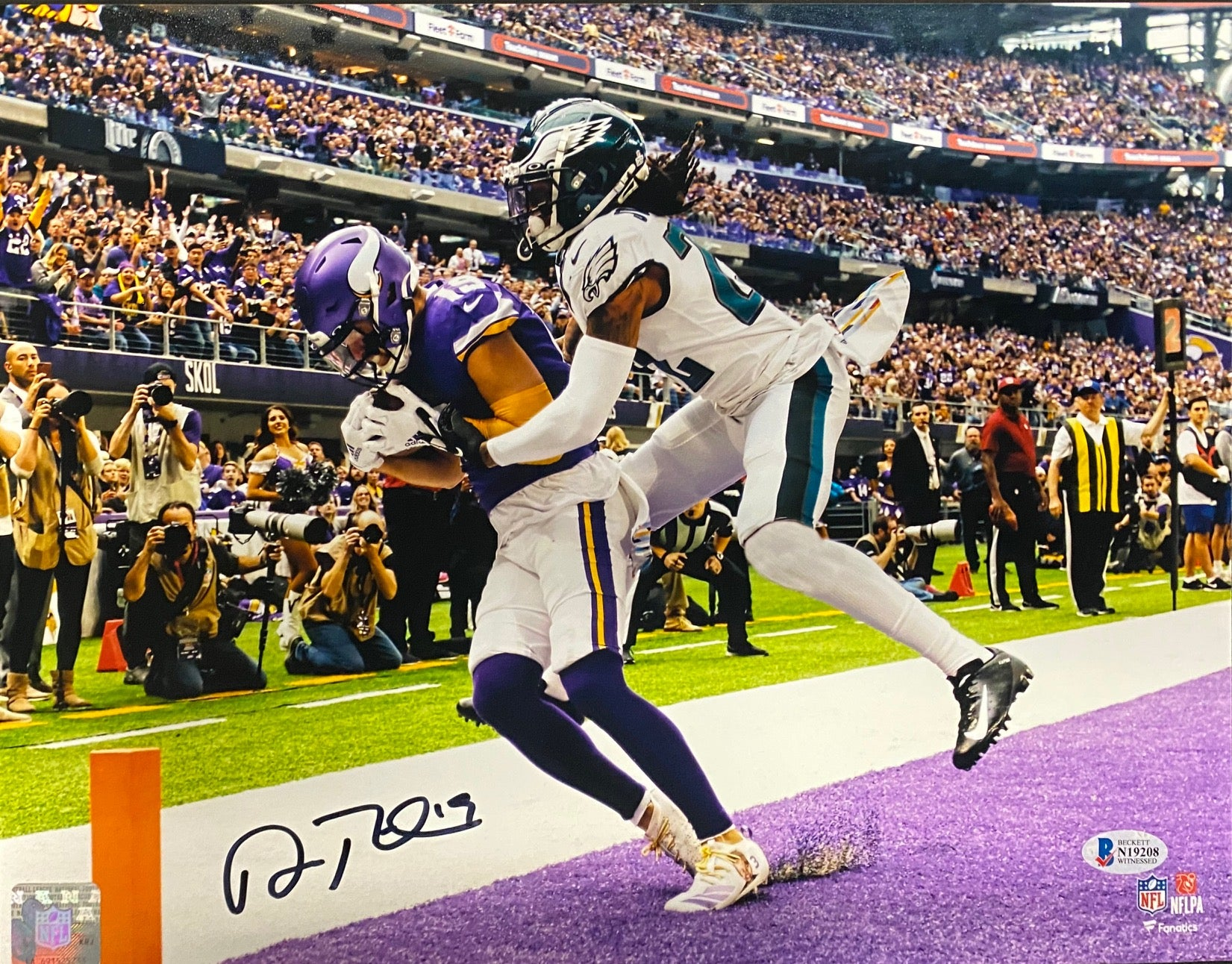 Adam Thielen Autographed Eagles TD Horizontal Fanatics 11x14 Photo