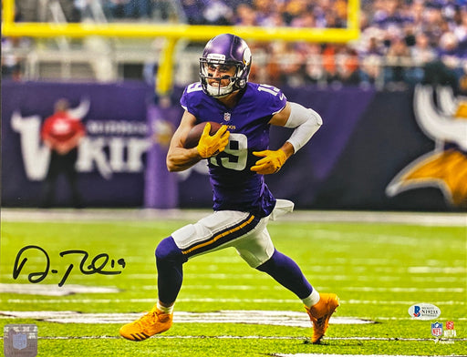 Adam Thielen Autographed Running W/ Ball Horizontal Fanatics 11x14 Photo