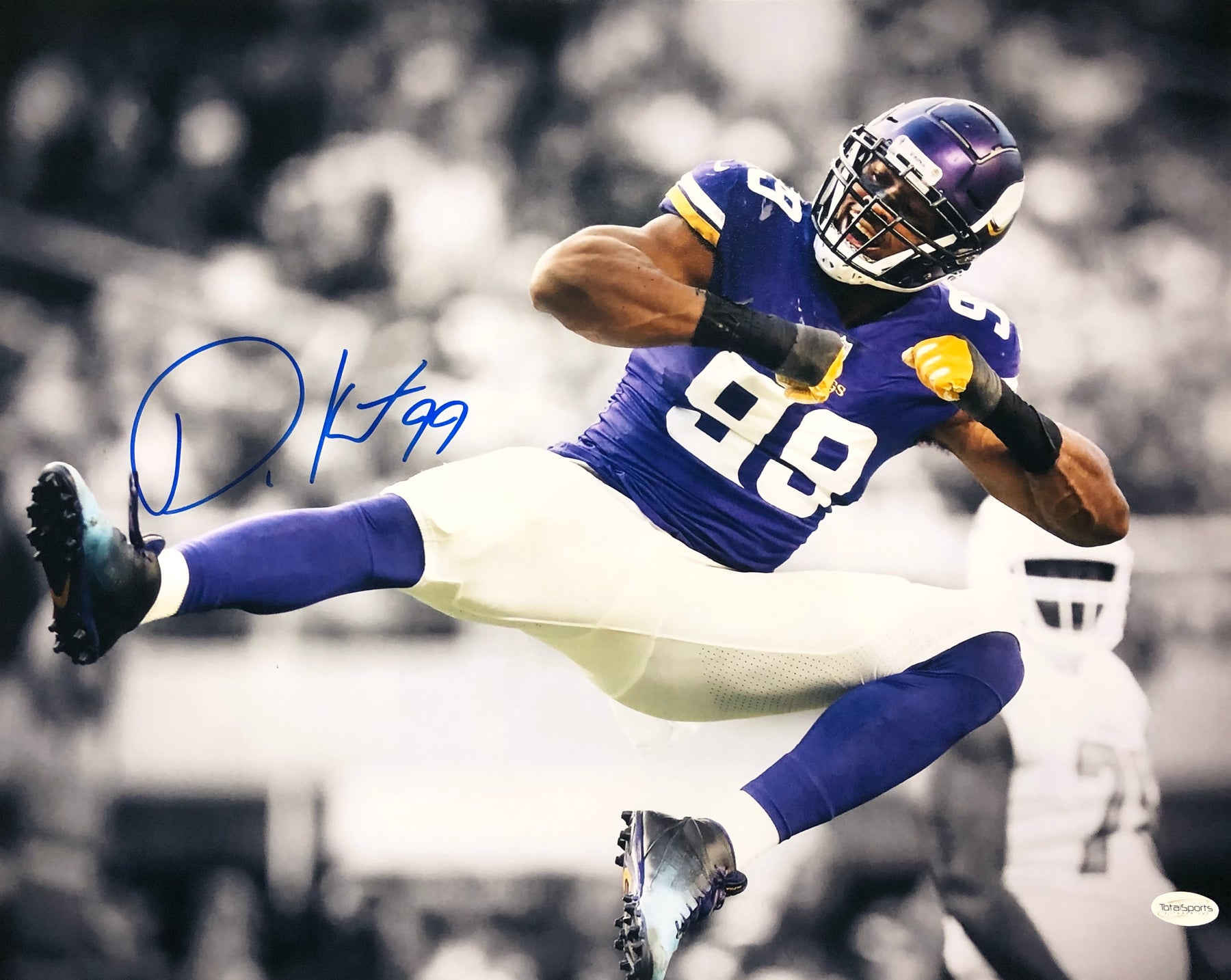 Danielle Hunter Autographed Jump Kick Spotlight 16x20 Photo