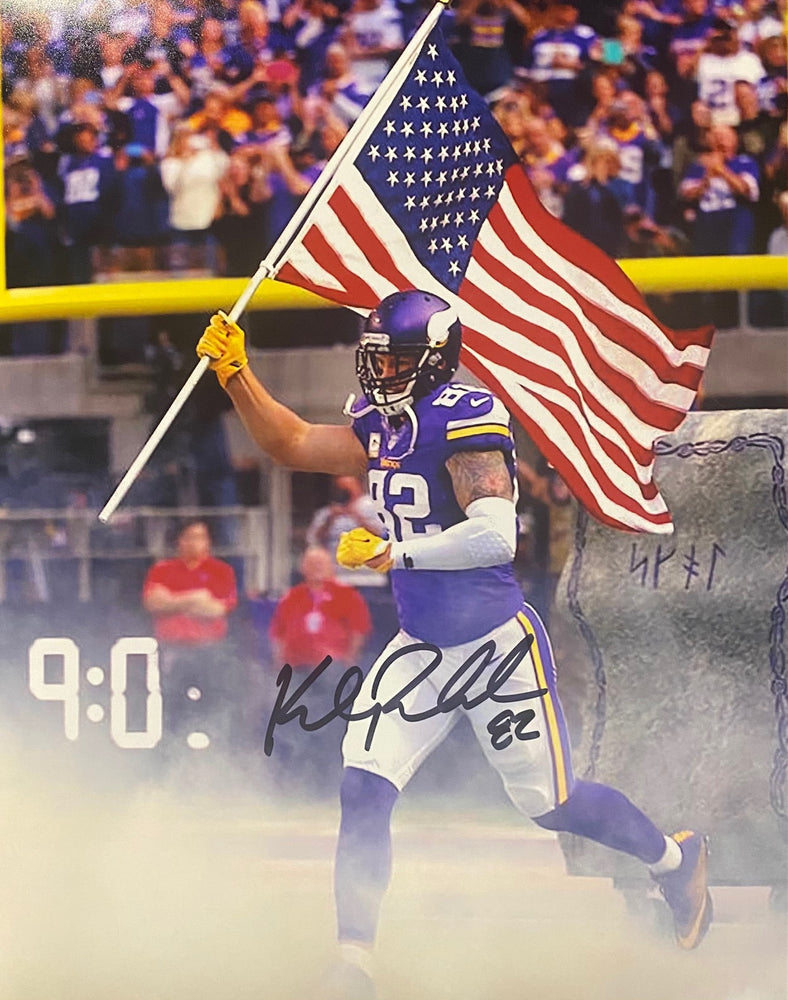 Kyle Rudolph Autographed Vertical Flag 11x14 Photo