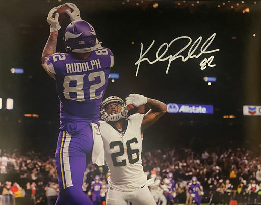 Kyle Rudolph Autographed Horizontal Catch Saints 16x20 Photo
