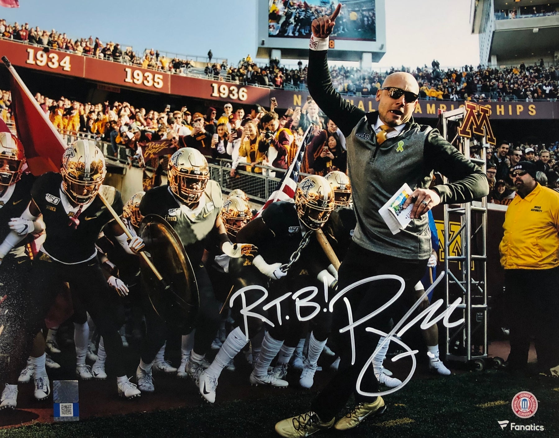 PJ Fleck Signed With Team 11x14 Photo with RTB