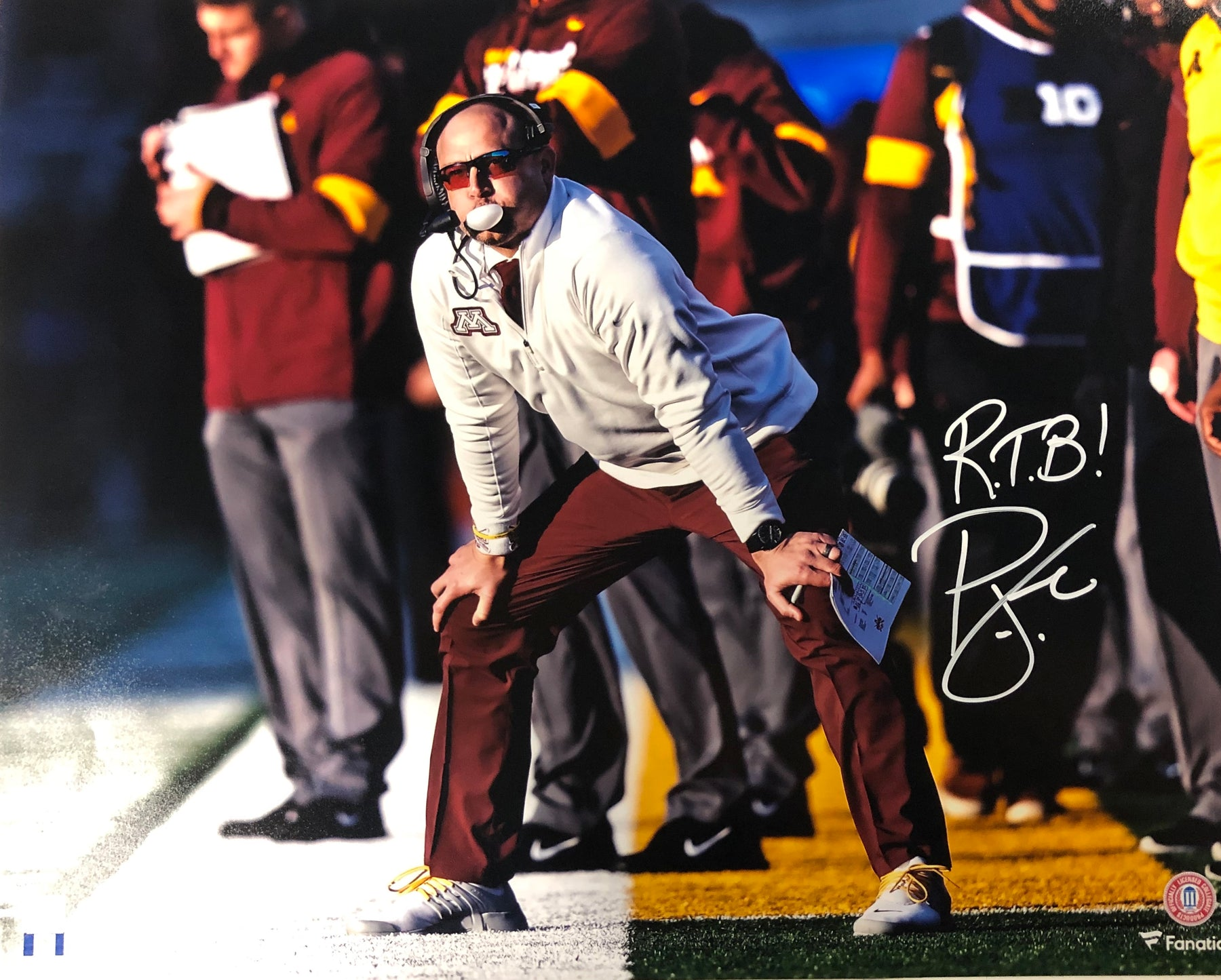 PJ Fleck Signed Sidelines 16x20 Photo with RTB