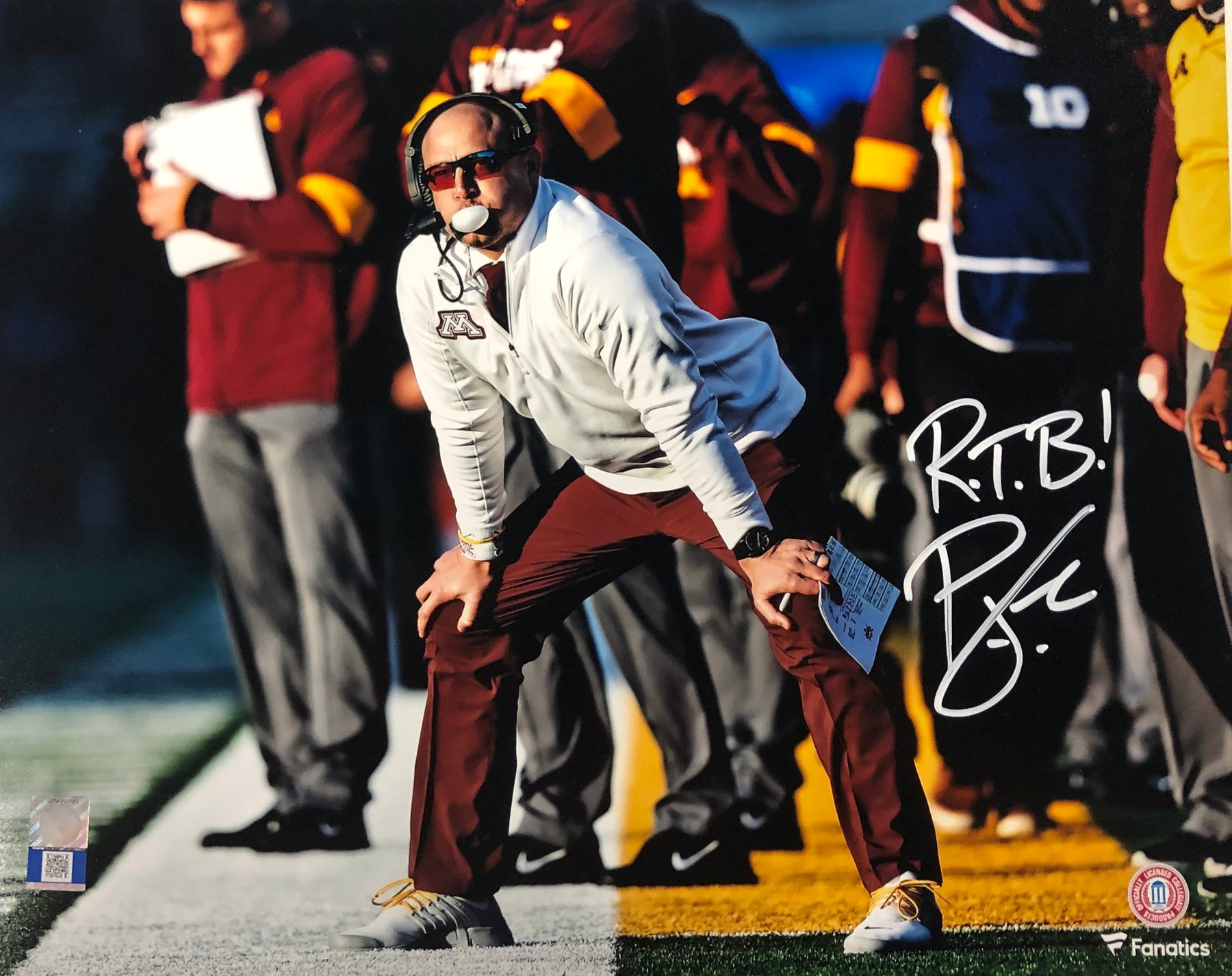 PJ Fleck Signed Sidelines 11x14 Photo with RTB