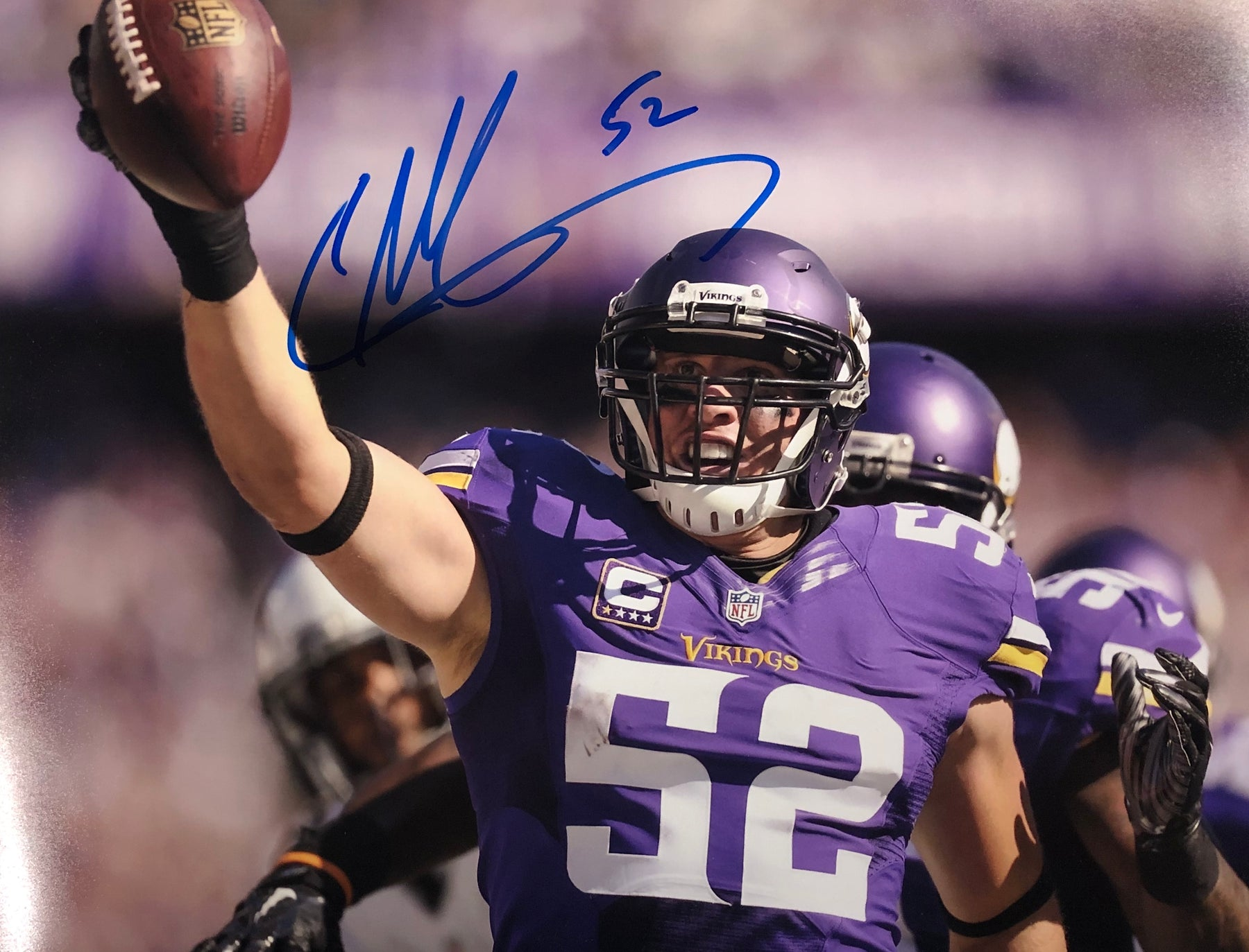 Chad Greenway Ball Up Signed 11x14 Photo