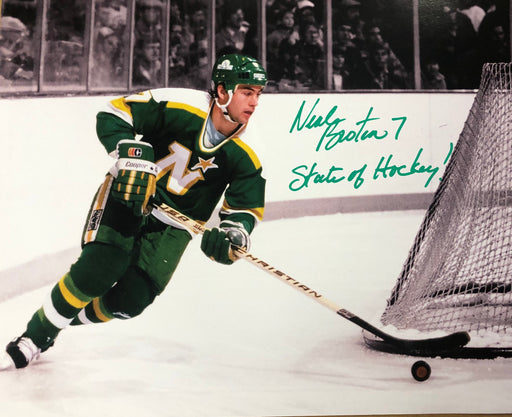 Neal Broten Signed North Stars 16x20 Photo w/ State Of Hockey!